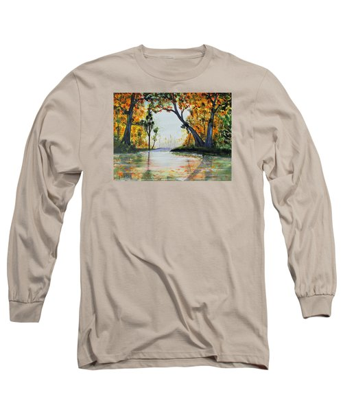 Long Sleeve T-Shirt featuring the painting October Reflections by Jack G  Brauer