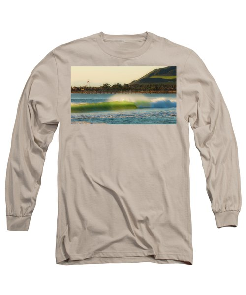 Offshore Wind Wave And Ventura, Ca Pier Long Sleeve T-Shirt by John A Rodriguez