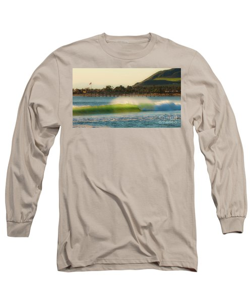 Offshore Wind Wave And Ventura, Ca Pier Long Sleeve T-Shirt