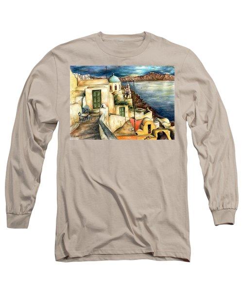Oia Santorini Greece - Watercolor Long Sleeve T-Shirt