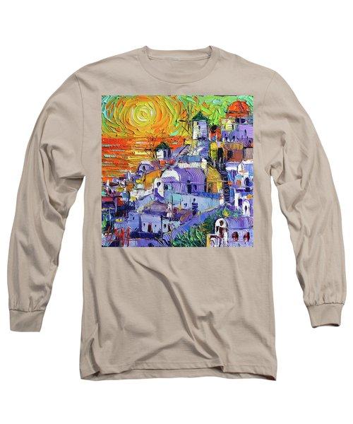 Oia Santorini Magic Light Mini Cityscape 09 - Modern Impressionist Palette Knife Oil Painting Long Sleeve T-Shirt