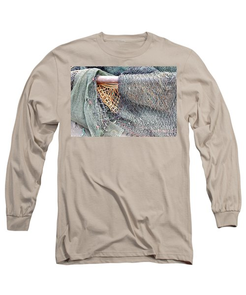 Long Sleeve T-Shirt featuring the photograph Old Discarded Fishing Nets by Yali Shi
