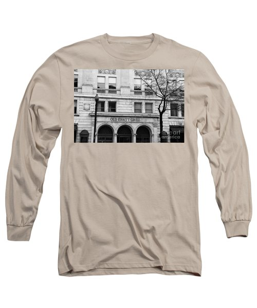 Old Ebbitt Grill Facade Black And White Long Sleeve T-Shirt
