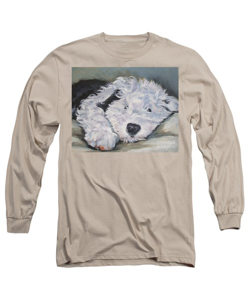 Old English Sheepdog Pup Long Sleeve T-Shirt by Lee Ann Shepard