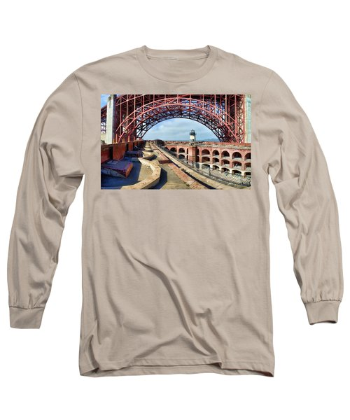 Old Fort Point Lighthouse Under The Golden Gate Long Sleeve T-Shirt