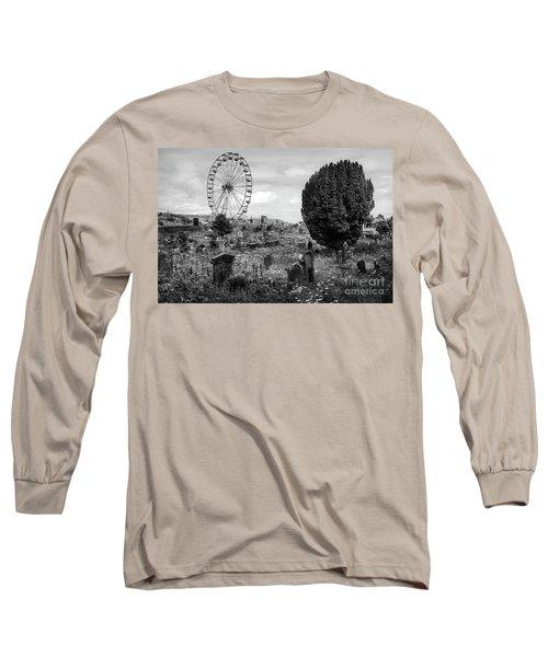 Old Glenarm Cemetery And Big Wheel Bw Long Sleeve T-Shirt by RicardMN Photography