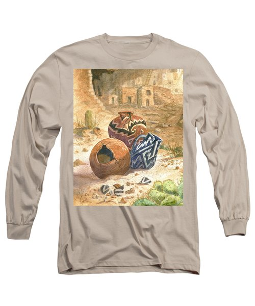Long Sleeve T-Shirt featuring the painting Old Indian Pottery by Marilyn Smith
