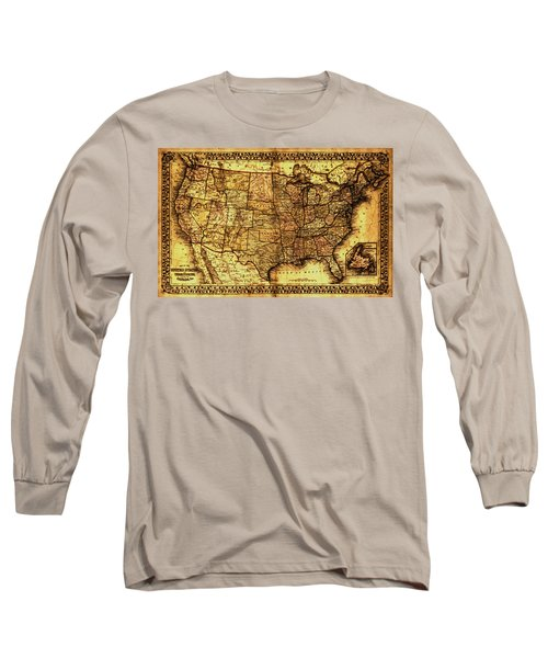 Old Map United States Long Sleeve T-Shirt