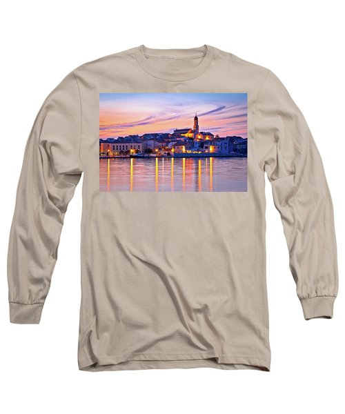 Old Mediterranean Town Of Betina Sunset View Long Sleeve T-Shirt
