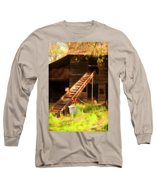 Long Sleeve T-Shirt featuring the photograph Old North Carolina Barn And Rusty Equipment   by Wilma Birdwell