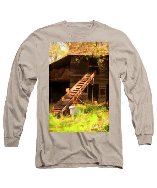 Old North Carolina Barn And Rusty Equipment   Long Sleeve T-Shirt