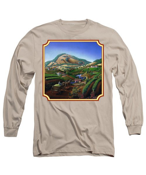 Old Wine Country Landscape Painting - Worker Delivering Grape To The Winery -square Format Image Long Sleeve T-Shirt