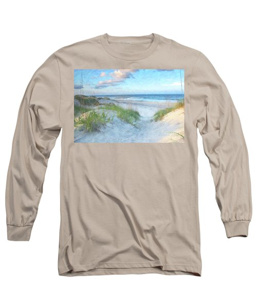 Long Sleeve T-Shirt featuring the digital art On The Beach Watercolor by Randy Steele