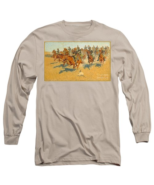 Long Sleeve T-Shirt featuring the photograph On The Southern Plains Frederic Remington by John Stephens