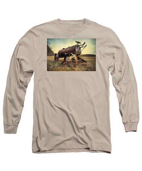 Long Sleeve T-Shirt featuring the photograph On The Water Wagon - Agricultural Relic by Gary Heller