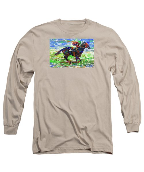 Long Sleeve T-Shirt featuring the painting One Body Length Ahead by Walter Fahmy