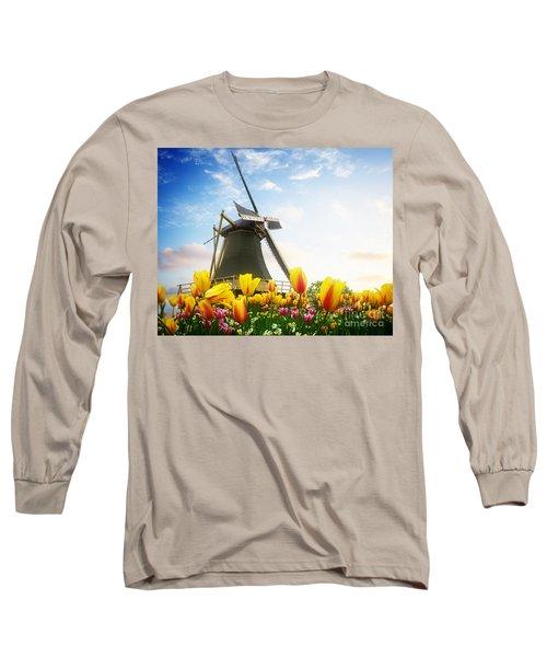 One Dutch Windmill Over  Tulips Long Sleeve T-Shirt
