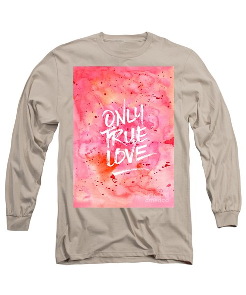 Only True Love Handpainted Abstract Watercolor Red Pink Orange Long Sleeve T-Shirt