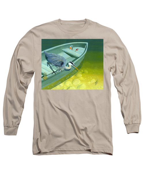 Long Sleeve T-Shirt featuring the painting Opportunity-the Great Blue Heron by Gary Giacomelli