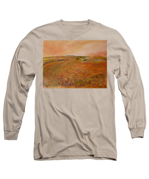 Orange Afternoon  Long Sleeve T-Shirt by Helen Campbell