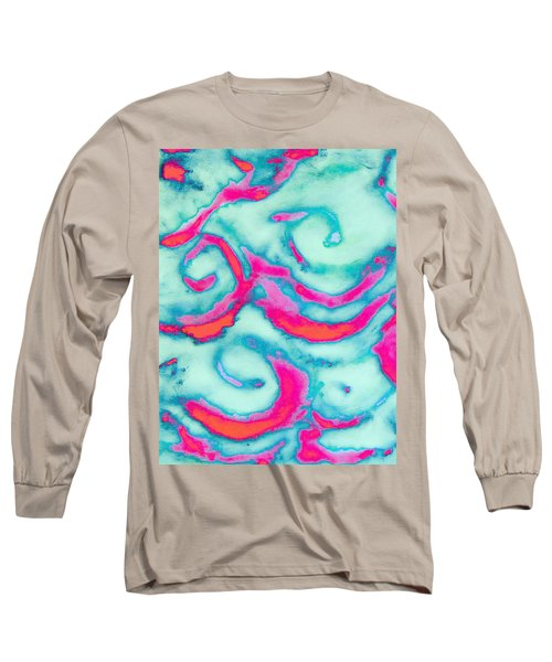 Orange And Pink Waves Long Sleeve T-Shirt by Samantha Thome
