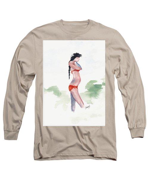 Orange Bikini Long Sleeve T-Shirt