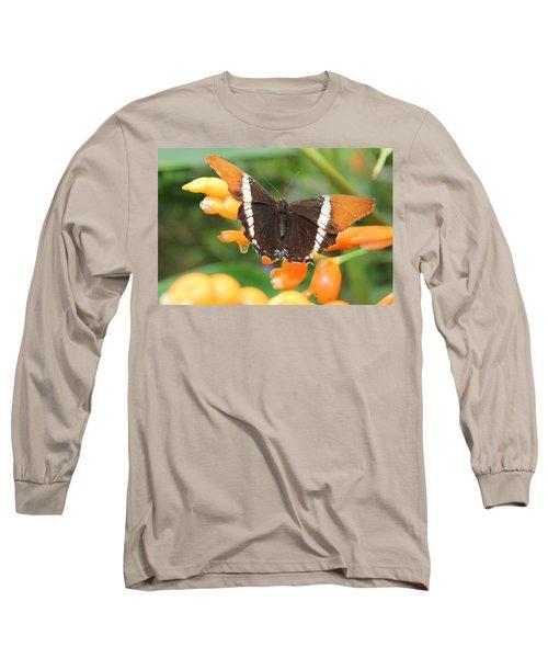 Orange Butterfly Long Sleeve T-Shirt
