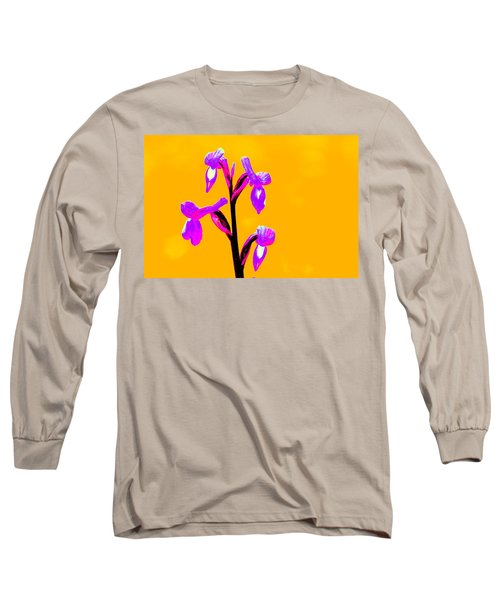 Orange Champagne Orchid Long Sleeve T-Shirt by Richard Patmore