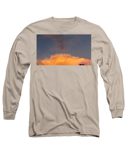 Orange Cloud With Grey Puffs Long Sleeve T-Shirt by Don Koester