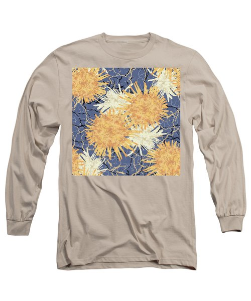 Orange Cobwebs Pattern Long Sleeve T-Shirt