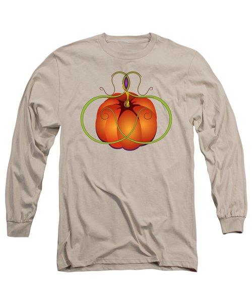 Orange Curvy Autumn Pumpkin Graphic Long Sleeve T-Shirt by MM Anderson