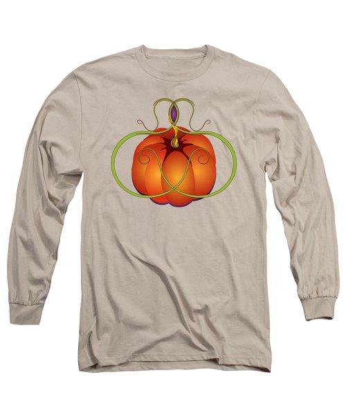 Orange Curvy Autumn Pumpkin Graphic Long Sleeve T-Shirt