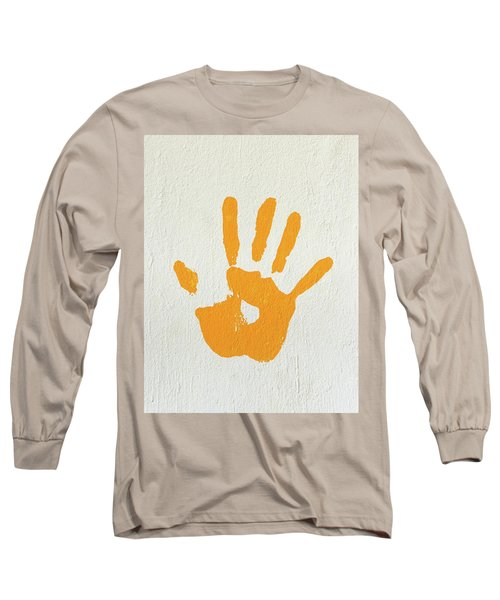 Orange Handprint On A Wall Long Sleeve T-Shirt
