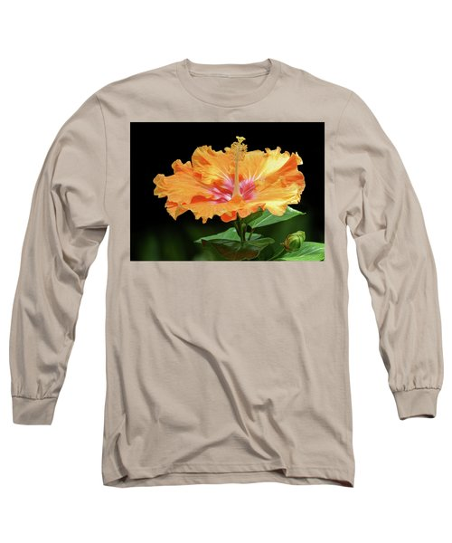 Orange Hibiscus - Flower Long Sleeve T-Shirt