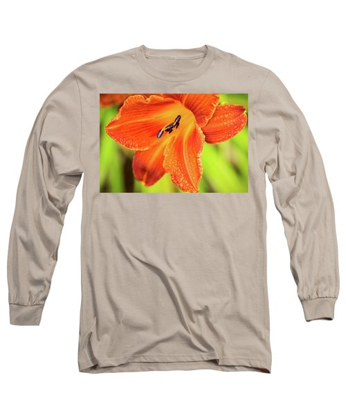 Orange Lilly Of The Morning Long Sleeve T-Shirt by Ken Stanback