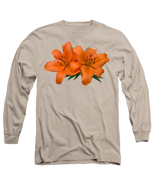 Orange Lily Long Sleeve T-Shirt by Jane McIlroy
