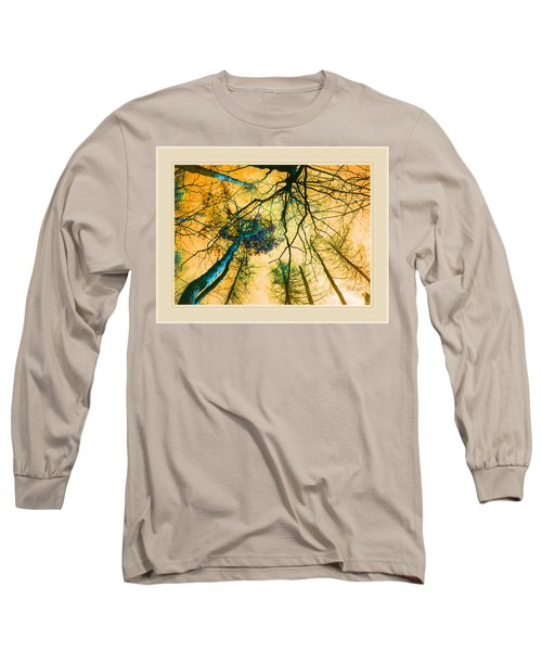 Orange Sky Tree Tops Long Sleeve T-Shirt by Felipe Adan Lerma