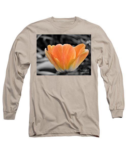 Orange Tea Cup Tulip Long Sleeve T-Shirt