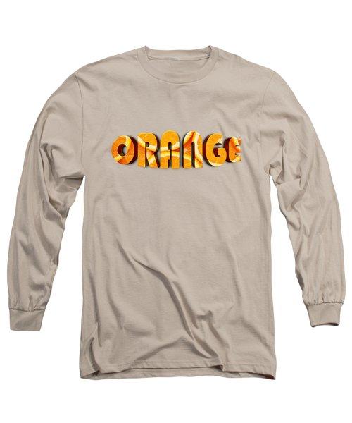Orange Text Long Sleeve T-Shirt