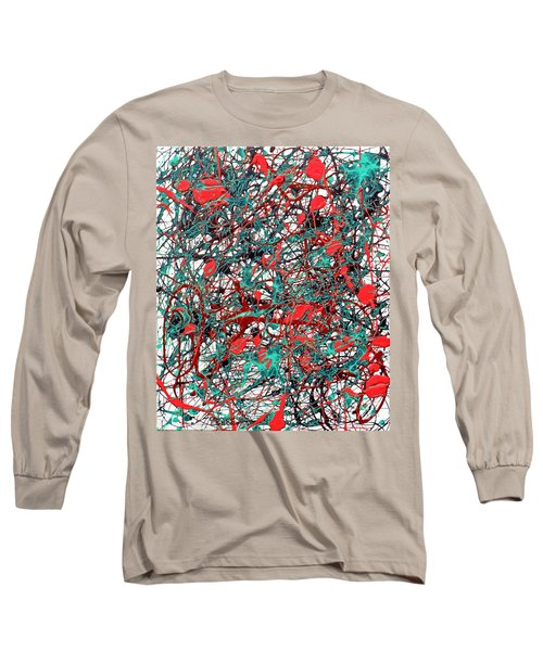 Long Sleeve T-Shirt featuring the painting Orange Turquoise Drip Abstract by Genevieve Esson