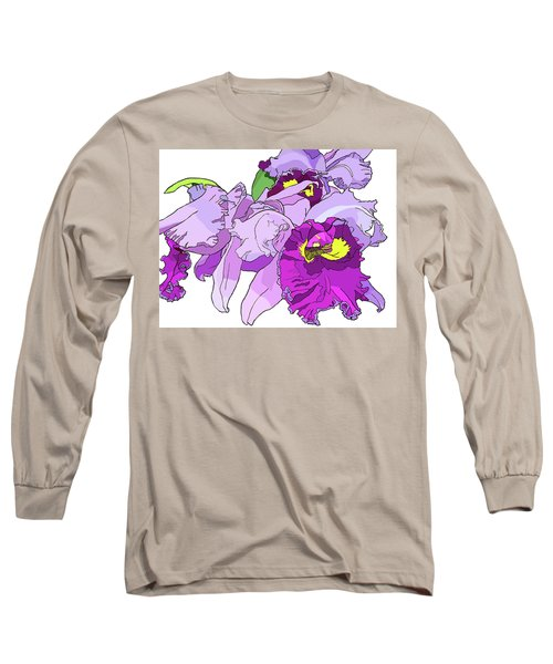 Orchid Cluster Long Sleeve T-Shirt by Jamie Downs
