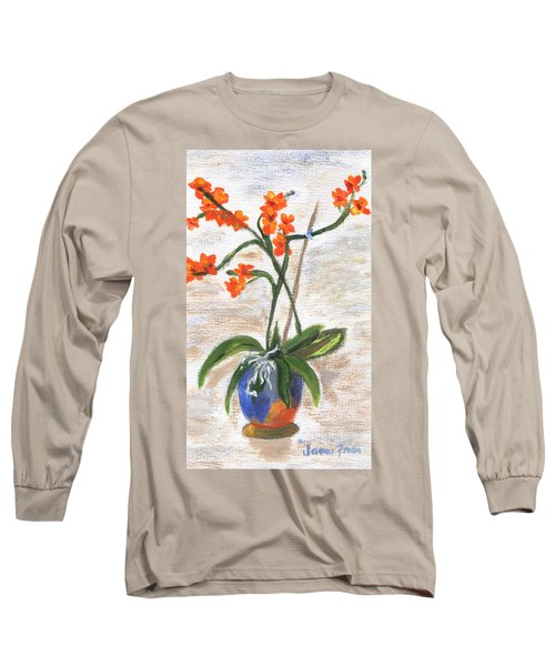 Long Sleeve T-Shirt featuring the painting Orchid by Jamie Frier