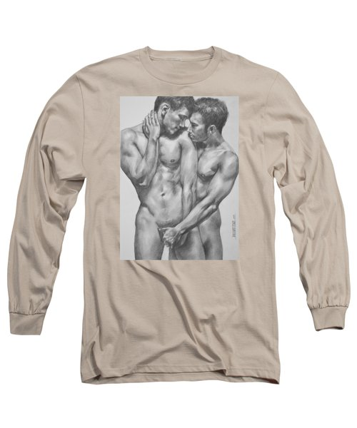 Original Charcoal Drawing Male Nude Gay Interest Man On Paper #6-30-5 Long Sleeve T-Shirt by Hongtao     Huang