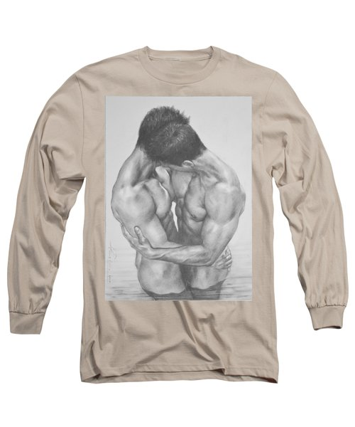 Original Drawing Sketch Charcoal  Male Nude Gay Interest Man Art Pencil On Paper -0041 Long Sleeve T-Shirt by Hongtao     Huang