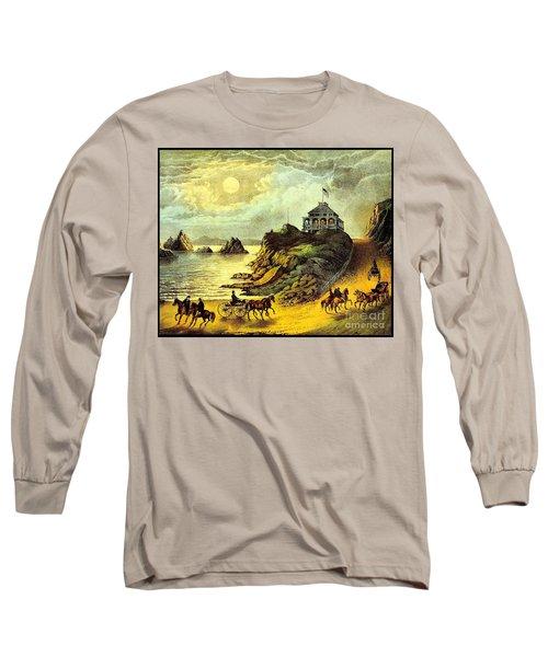 Long Sleeve T-Shirt featuring the painting Original San Francisco Cliff House Circa 1865 by Peter Gumaer Ogden