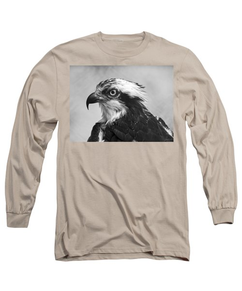 Osprey Monochrome Portrait Long Sleeve T-Shirt by Chris Flees