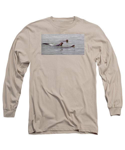 Otters Swimming Long Sleeve T-Shirt by Karen Molenaar Terrell