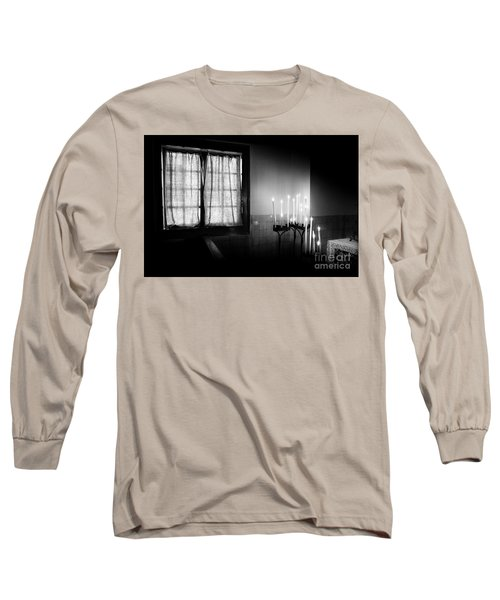 Long Sleeve T-Shirt featuring the photograph Our Lady Chapel Detail In  The Ons' Lieve Heer Op Solder Amsterdan Bw by RicardMN Photography