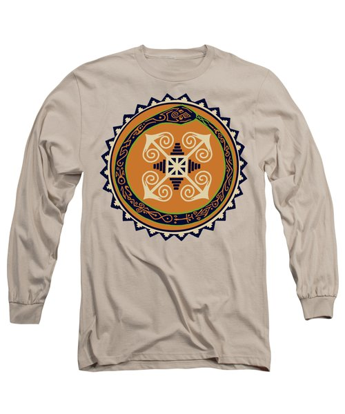 Ouroboros With Devine Fire Wheel Long Sleeve T-Shirt