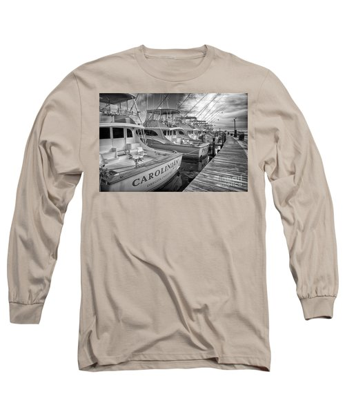 Outer Banks Fishing Boats Waiting Bw Long Sleeve T-Shirt by Dan Carmichael